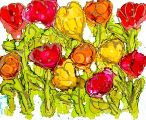 Love in Yellow and Red Tulips