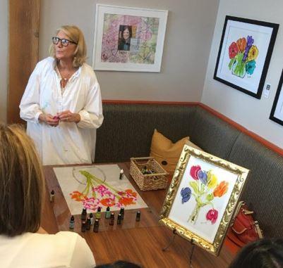 Annie Pryor Lovitude Soul Painting Artist Demonstrating her paintings