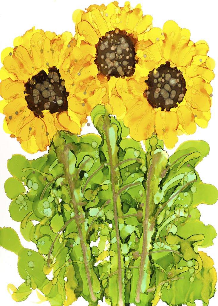 Three Sunflowers by Anne Pryor Lovitude Soul Painter very popular painting