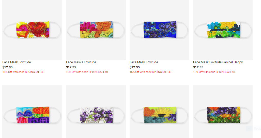 Lovitude Face Masks Available in beautiful designs.